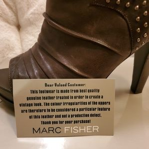 Marc Fisher Shoes - Marc Fisher Kerrie Brown Leather Studded Bootie